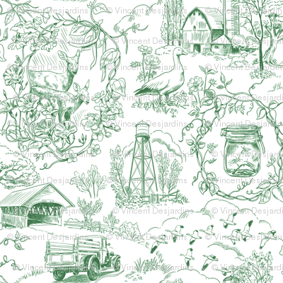 Country Living Toile Green
