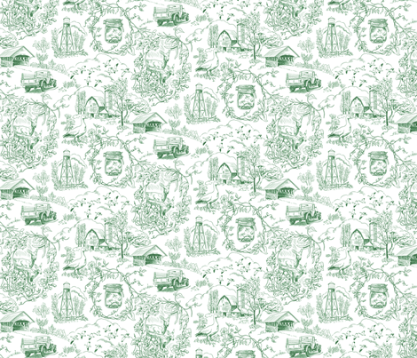 Country Living Toile Green fabric by vinpauld on Spoonflower - custom fabric