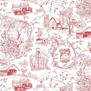 Country Living Toile Red