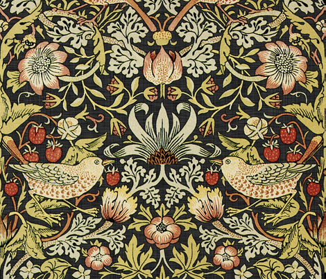 William Morris ~ Strawberry Thief ~ Soft fabric by peacoquettedesigns on Spoonflower - custom fabric