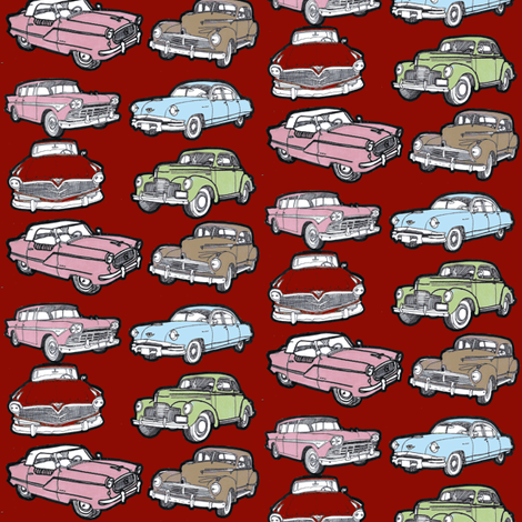 Six Nostalgic Orphan cars  Nash, Studebaker, Hudson, Rambler, Kaiser fabric by edsel2084 on Spoonflower - custom fabric