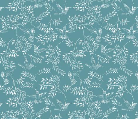 Hummingbird liberty fabric by janecookedesign on Spoonflower - custom fabric