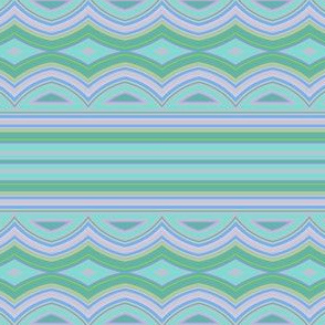 Pastel Colors Scalloped Horizontal Stripe