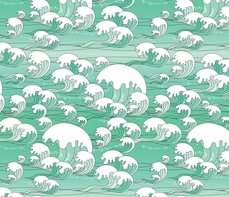 Aqua Ocean fabric by thickblackoutline on Spoonflower - custom fabric