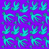 Soul Birds in Flight 2 Teal and Purple