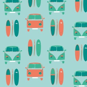 retro, vintage VW camper vans and surf boards (smaller scale)