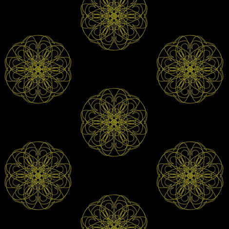 Hard-Wired Flowers on Deep Black fabric by rhondadesigns on Spoonflower - custom fabric