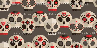 Red and Grey Sugar Skulls Small