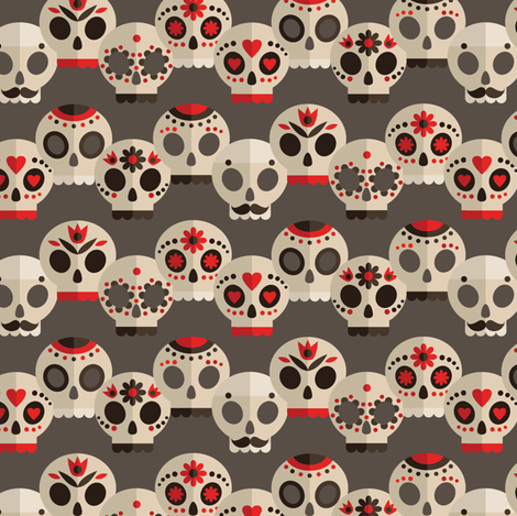 Red and Grey Sugar Skulls Small fabric by pink_ink on Spoonflower - custom fabric