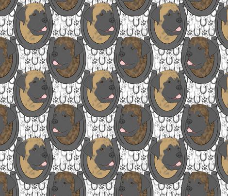 Mastiff horseshoe portraits fabric by rusticcorgi on Spoonflower - custom fabric
