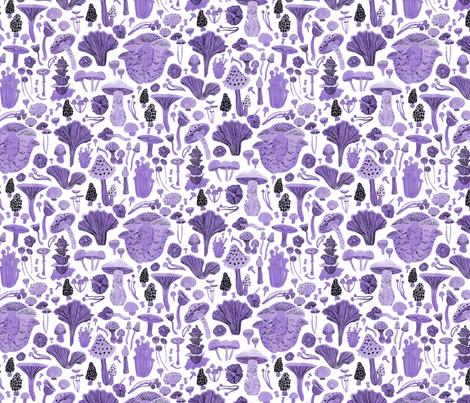 Mushroom bounty in purple fabric by mollyrobin on Spoonflower - custom fabric