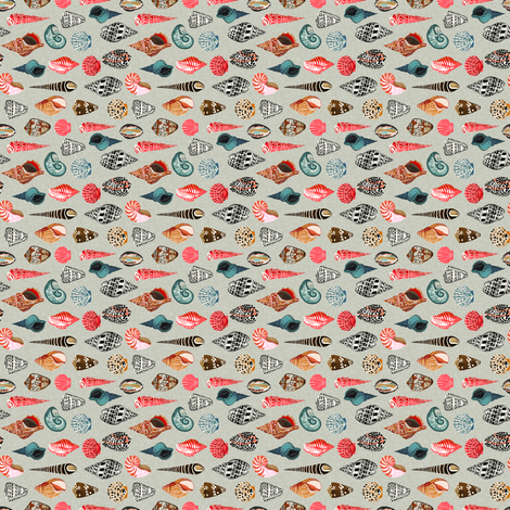 shells // summer beach linen sea ocean fabric by andrea_lauren on Spoonflower - custom fabric