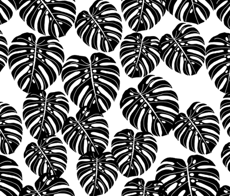 monstera // extra large monstera tropical leaves  fabric by andrea_lauren on Spoonflower - custom fabric