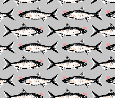 Pink Crown Fish on Gray  fabric by mariafaithgarcia on Spoonflower - custom fabric