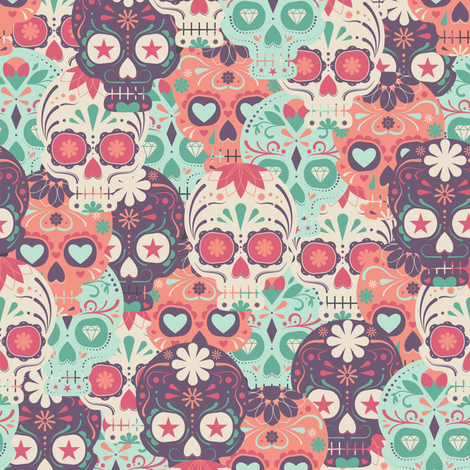 Pastel Sugar Skull By The Bunch Wallpaper Pink Ink Spoonflower