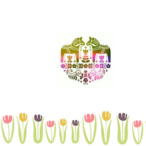 Dala horse - rainbow floral panel