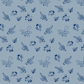Dragonflies (Slate Blue)