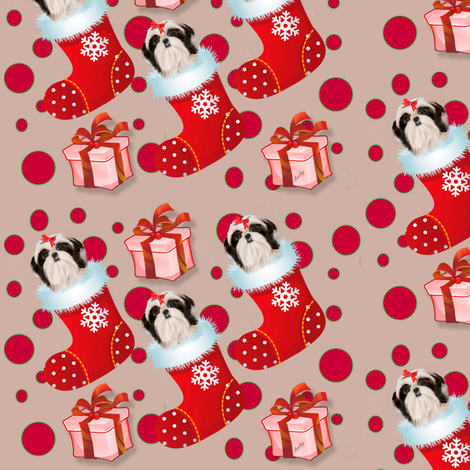Shihtzu xmas fabric by barbyyy on Spoonflower - custom fabric