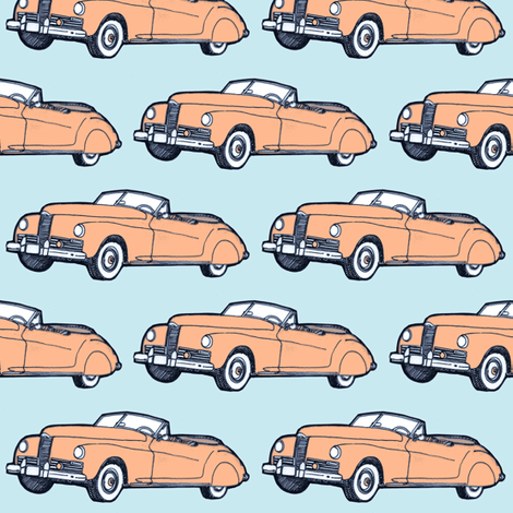 1941 Packard Convertible (peach on blue) fabric by edsel2084 on Spoonflower - custom fabric