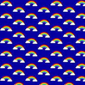 Medium Rainbows with Clouds - Dark Blue