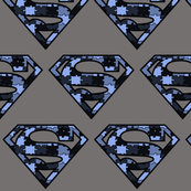 Blue/Gray Camo Superhero Puzzle Pieces