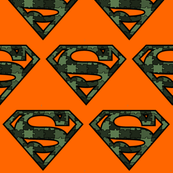 Green Hunters Camo on Orange Superhero Puzzle Pieces