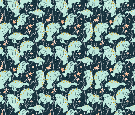 Oh, the Hue-Manatee *Updated*  fabric by spottedpepperdesigns on Spoonflower - custom fabric