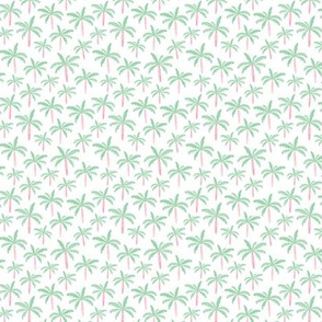 Summer palm tree beach coconut pastel bikini tropics illustration print in mint XS