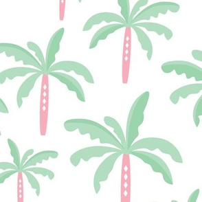 Summer palm tree beach coconut pastel bikini tropics illustration print in mint LARGE Jumbo