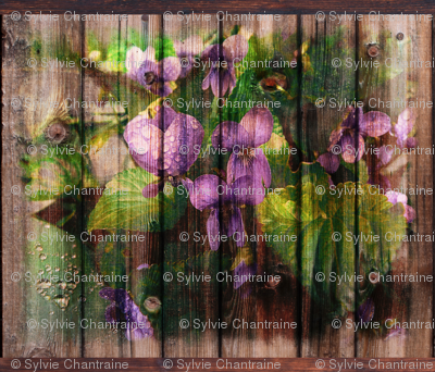 VIOLETS ON WOOD ORIGINAL FAT PILLOW PANEL