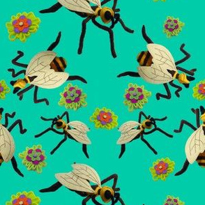Felt Bee Sculptures and Flowers on Aqua