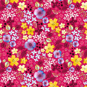 Color Me Flowers on Hot Pink