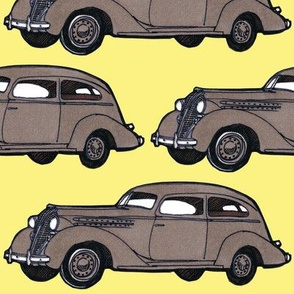 8 inch 1936 Hudson  Essex Terraplane driving left tan/yellow