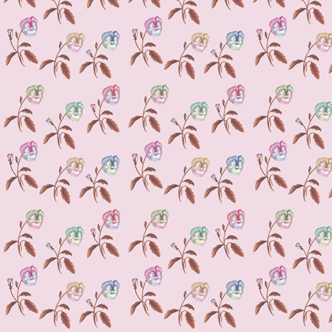 Pansy Meadow Soft Pink fabric by thistleandfox on Spoonflower - custom fabric