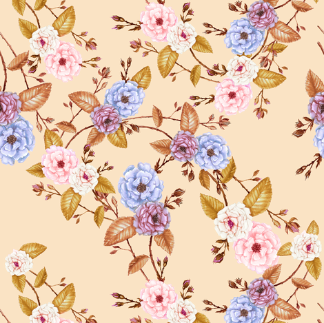 Bridemaid_Roses_on_SunsetPeach_II fabric by thistleandfox on Spoonflower - custom fabric