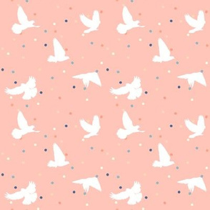 Doves in Flight Dotty Peach