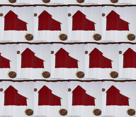 Red Barn in Snow fabric by grannagerie™ on Spoonflower - custom fabric