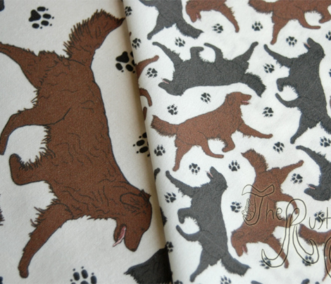Trotting Flat coated Retrievers and paw prints - tiny white