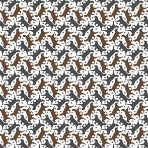 Trotting Flat coated Retrievers and paw prints - tiny white
