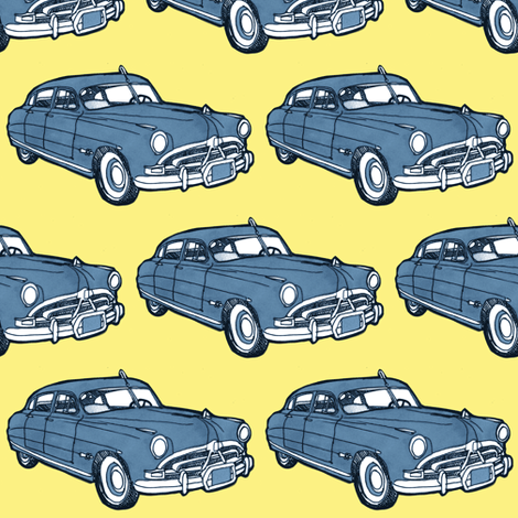 1951 Hudson Hornet blue/yellow fabric by edsel2084 on Spoonflower - custom fabric