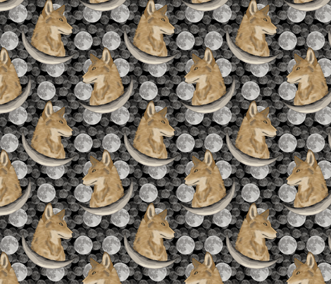 Coyote in moon portraits fabric by rusticcorgi on Spoonflower - custom fabric