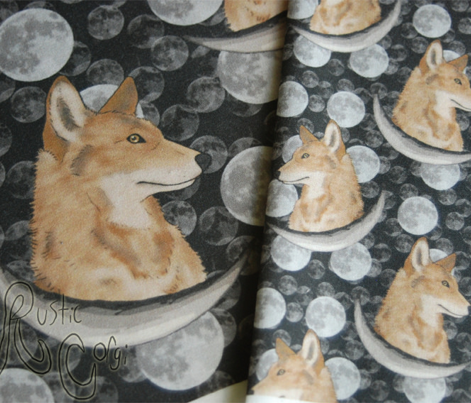 Coyote in moon portraits - small