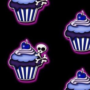 Purple Glowing Skull Cupcakes