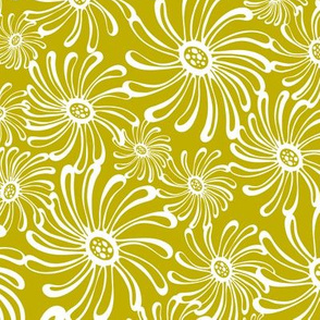 Bursting Bloom Floral - Mustard Yellow/Green