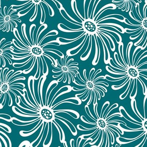 Bursting Bloom Floral - Dark Teal