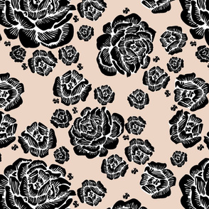 wood cut roses - black/putty