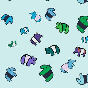 Medium Tapirs in Sea Colors