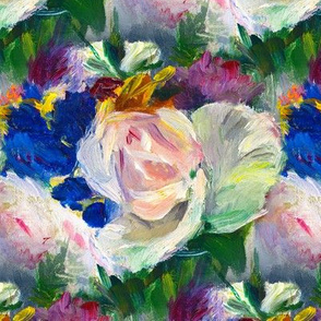 Impressionist Floral Painting Seamless Repeat