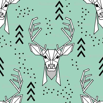 Deer geometric // Turquoise and Black