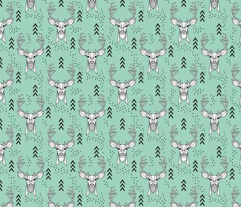 Deer geometric // Turquoise and Black fabric by howjoyful on Spoonflower - custom fabric